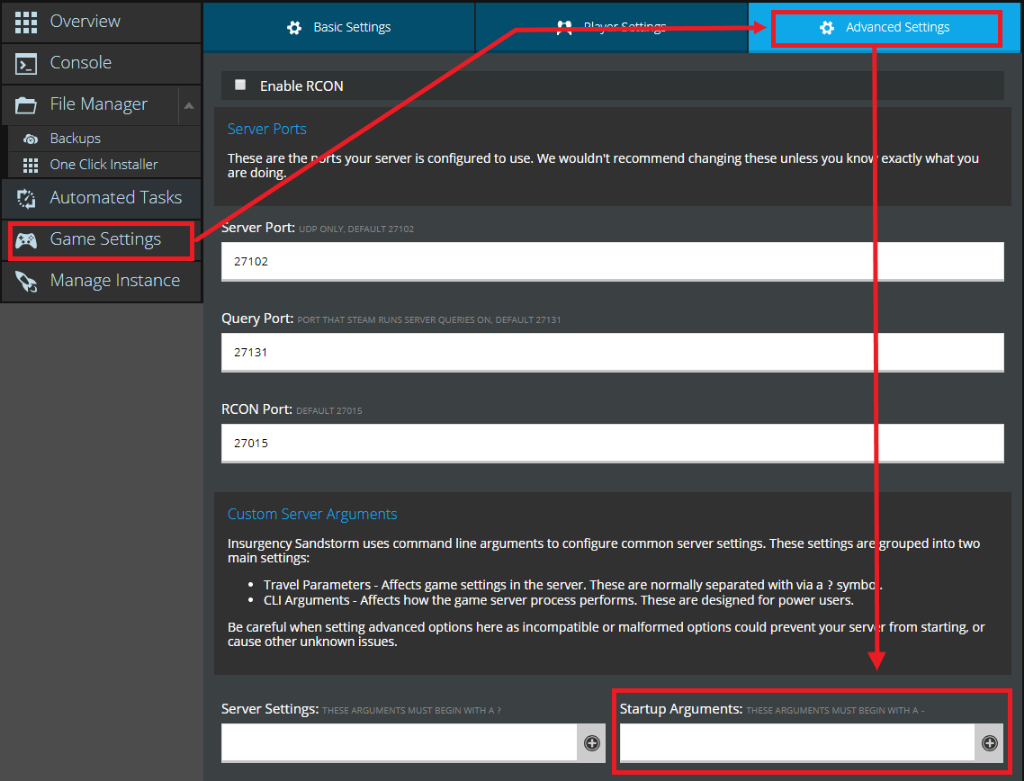 The Game Settings page on the NodePanel showing where to enter startup arguements