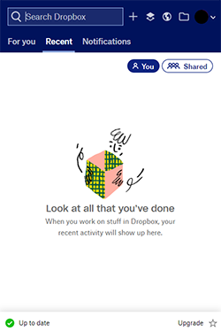 A view of Dropbox, with no files uploaded yet