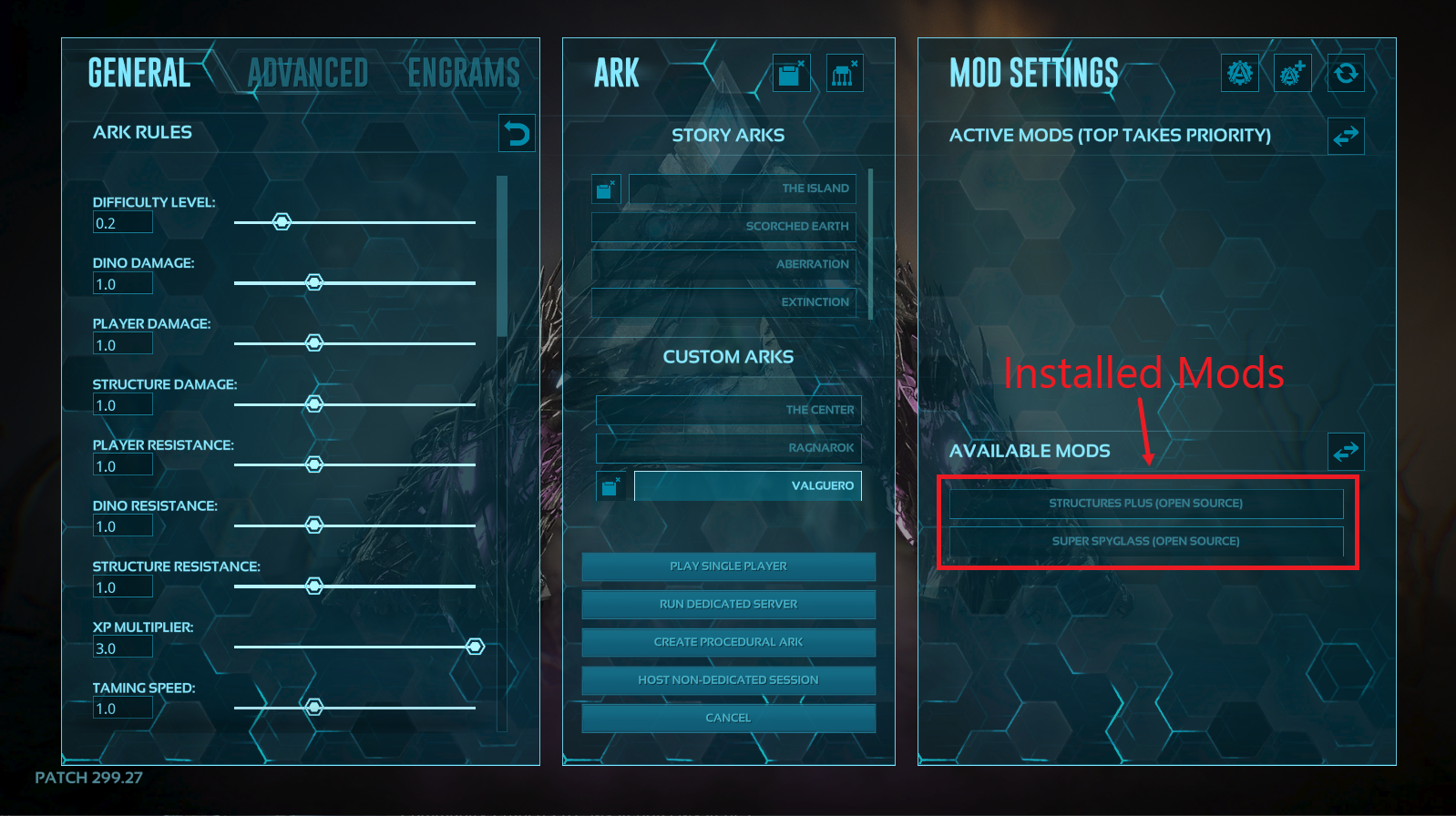 A view of the control panel for single player games in ark