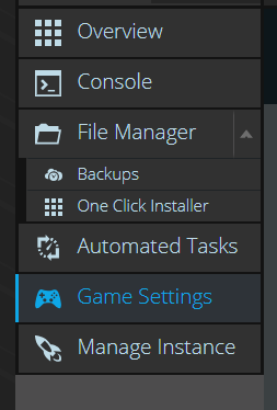 Where to find the game settings tab in your control panel