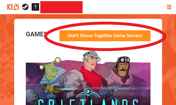 "Don't Starve Together servers button in the Steam Overlay ""User Info"" window"