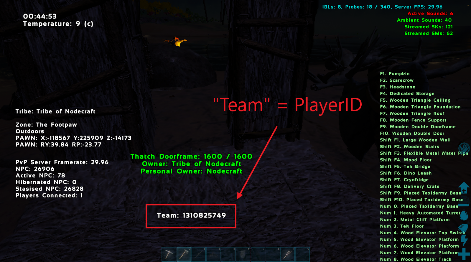 A view of the game ARK showing setplayercheat turned on