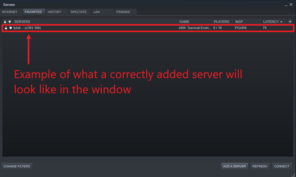 A view of the Steam server listing box showing a correctly added server