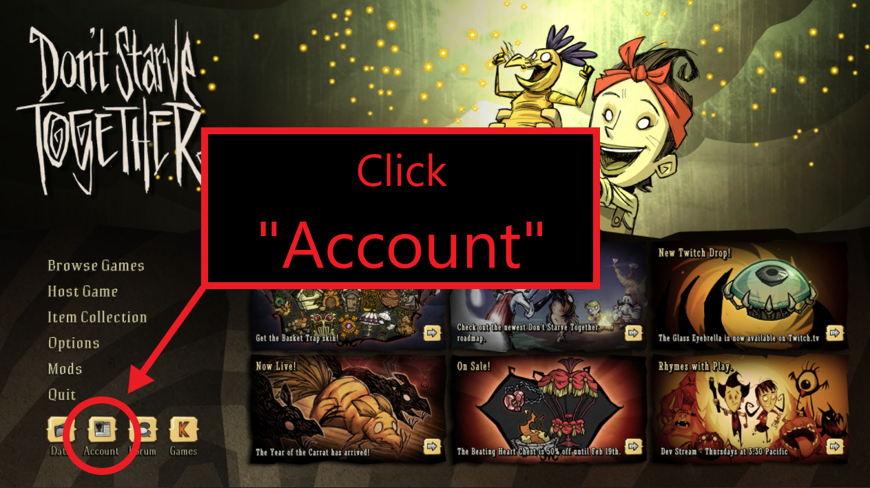 A view of the title screen of Don't Starve Together, showing the Account button.