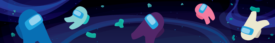 Blog header image, among us characters floating in space.