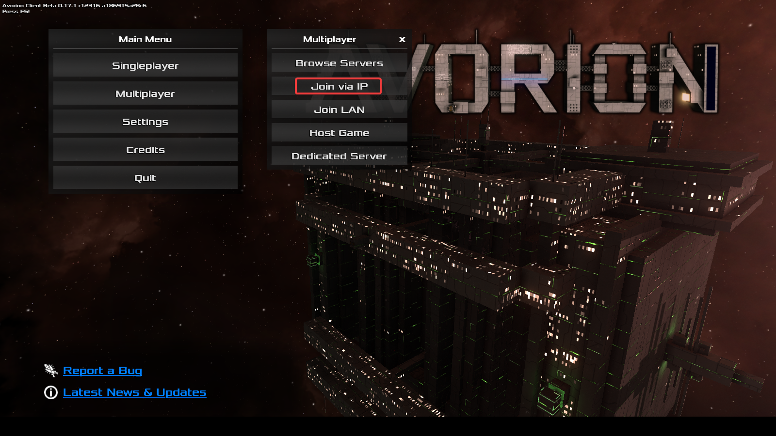 Avorion join server by IP menu