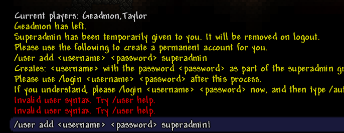 Add user superadmin tshock
