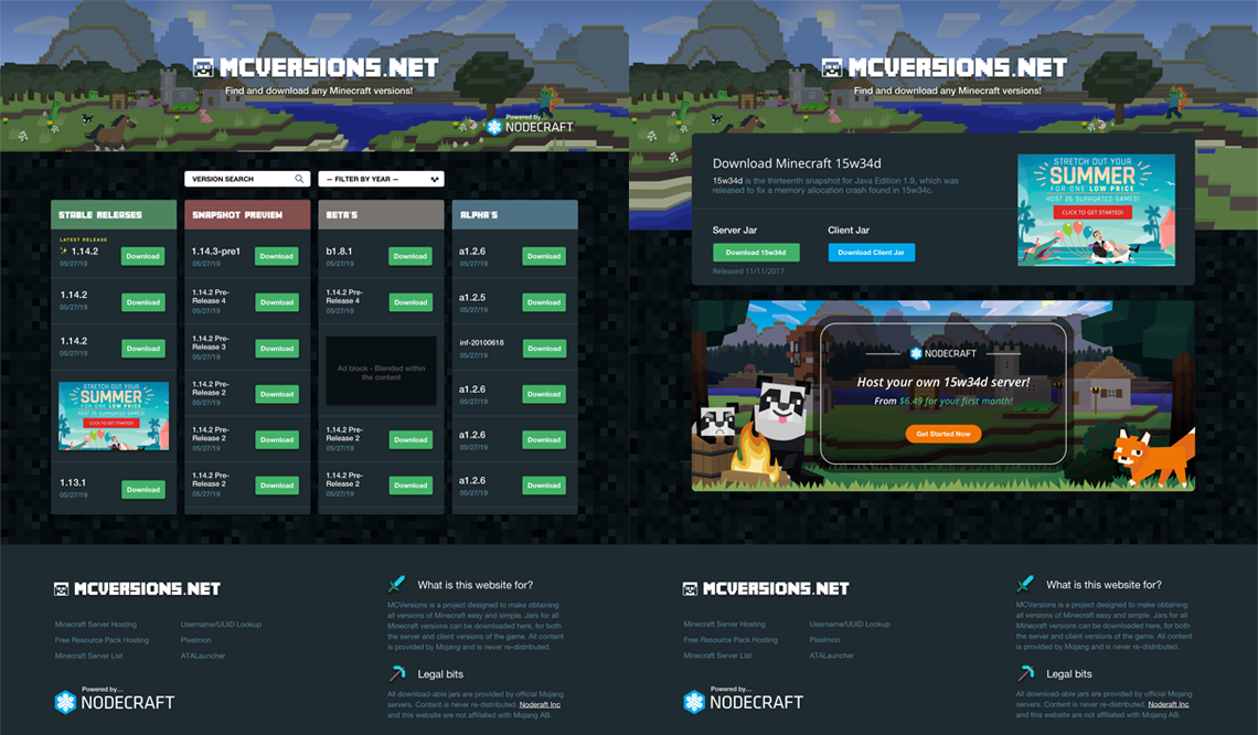 MCVersions.net redesign