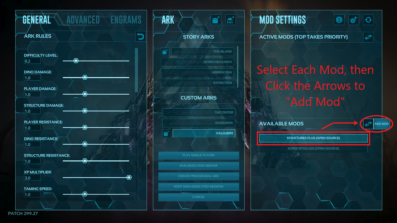 A view of the control panel for creating a single player game in ark, showing how to activate mods