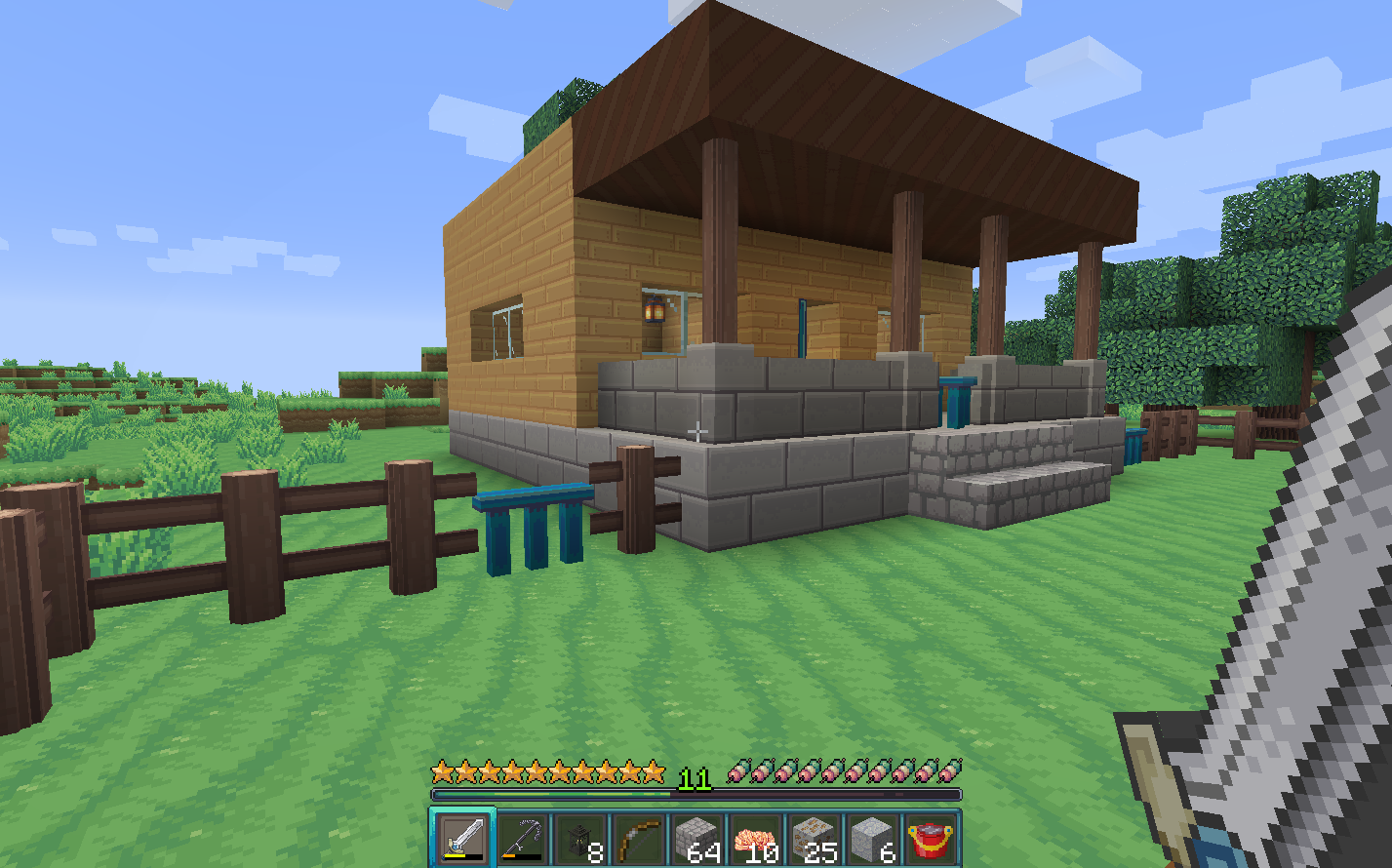 A view of a minecraft house with the annahstas Resource Pack textures
