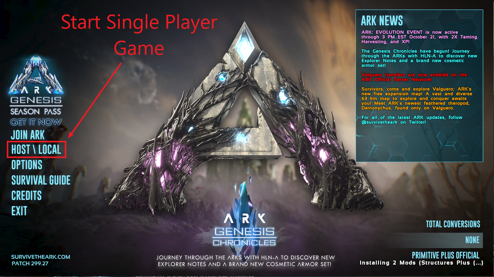 The title screen of ARK: Survival Evolved.