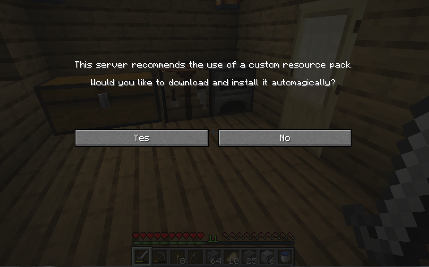 A view of the prompt to download a Resource Pack