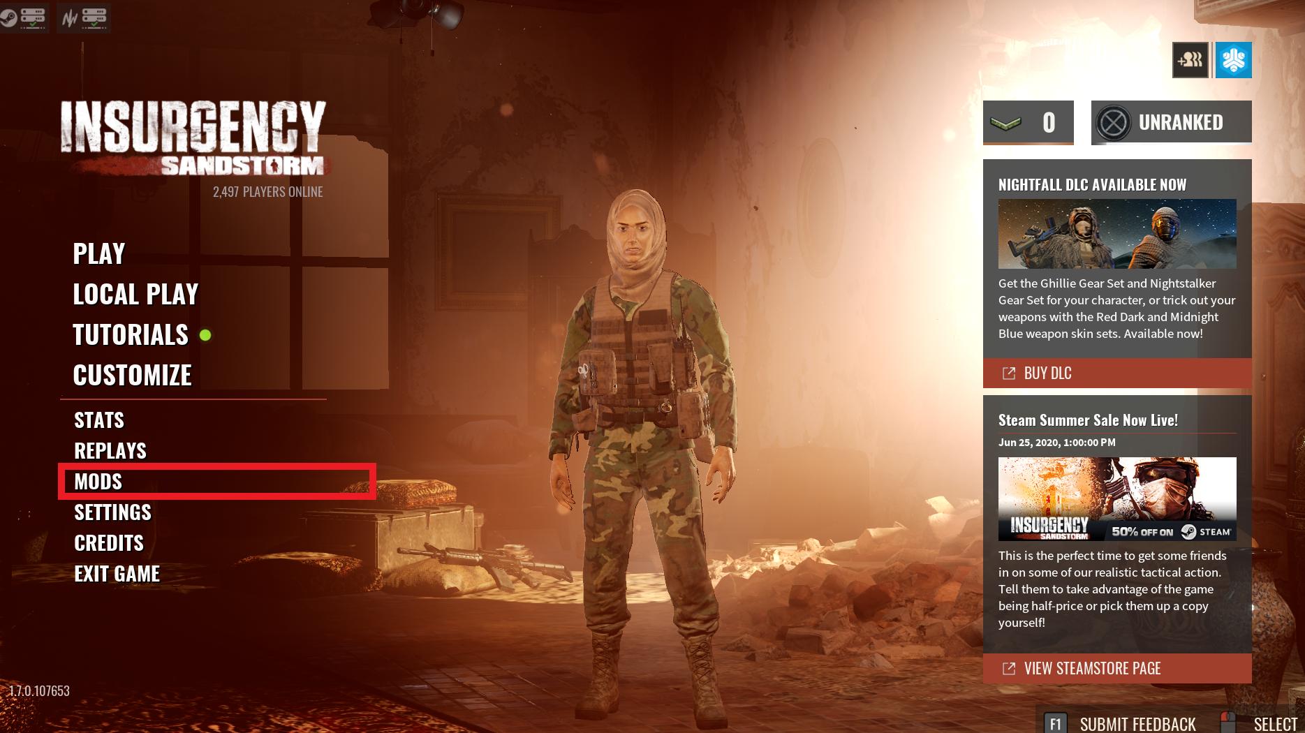 Widok ekranu tytułowego gry Insurgency: Sandstorm, pokazujący opcje modów