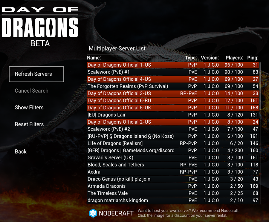 The server list for Day of Dragons