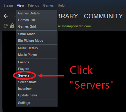 A partial view of a menu in Steam, featuring the servers option