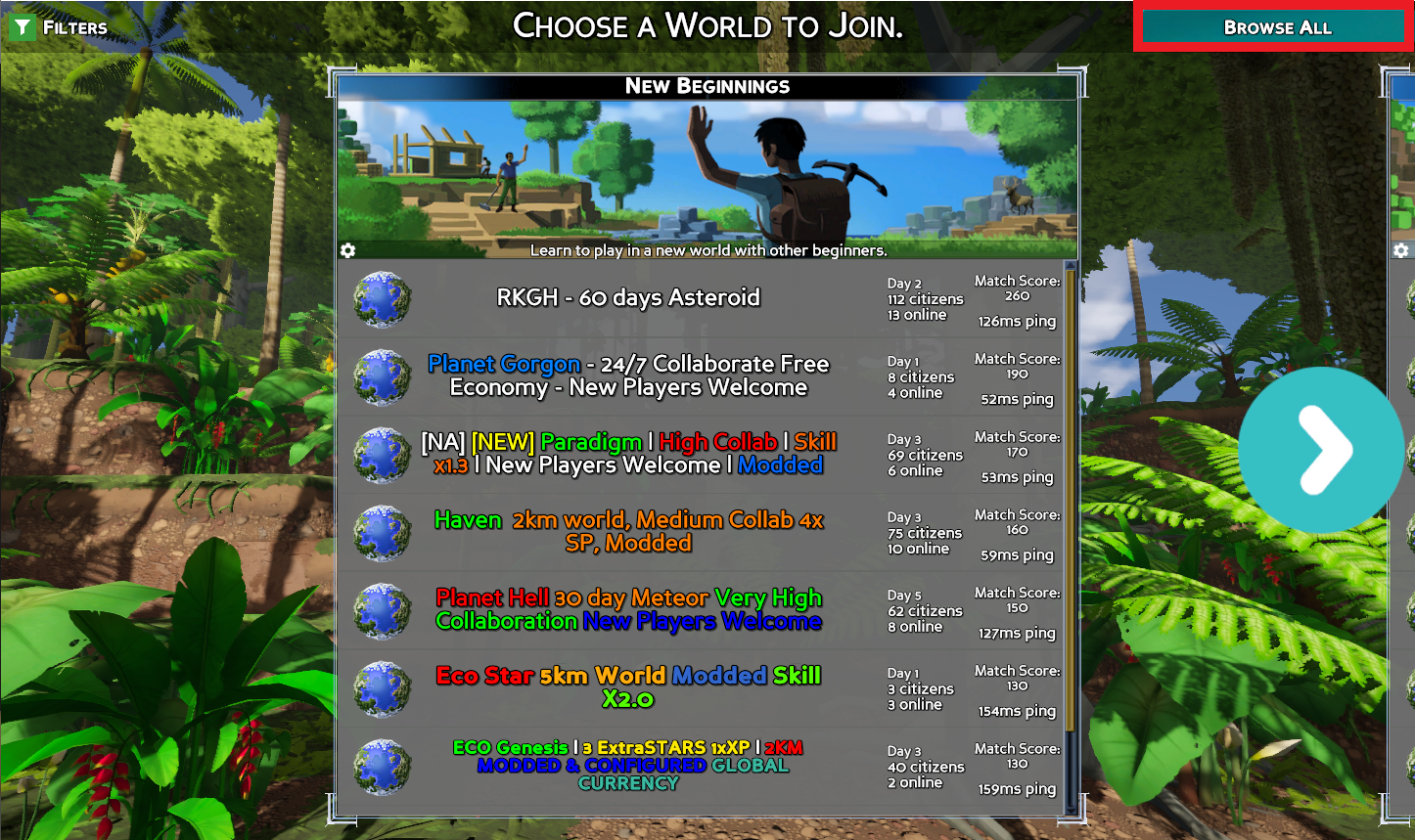 A view of the Beginner game listings, with the Browse All button highlighted