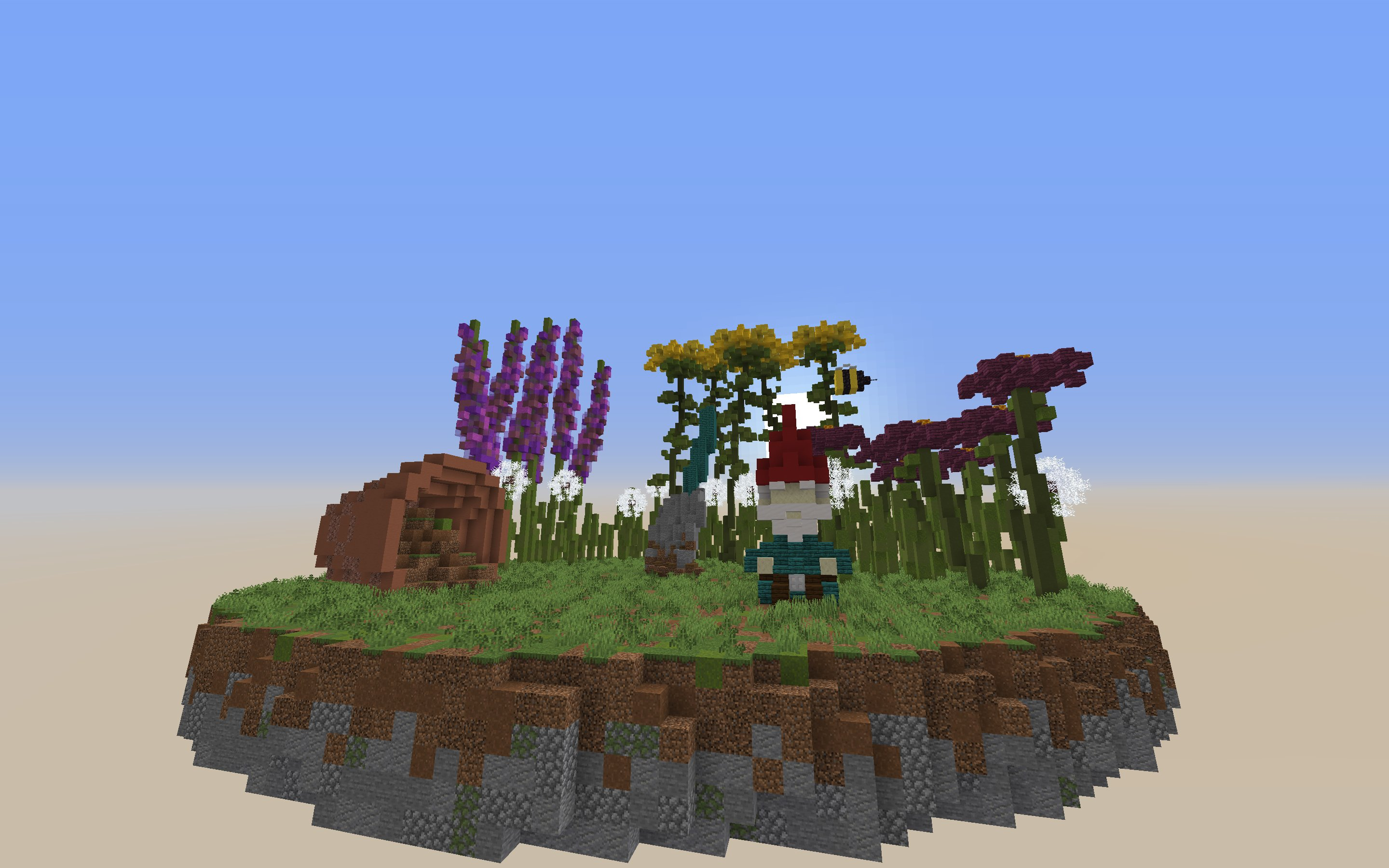 A floating minecraft build of giant flowers, a turned over flower pot, and a lawn gnome.