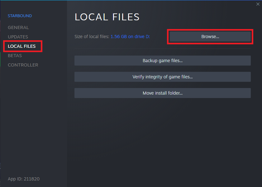 Browsing the local files for Starbound within Steam