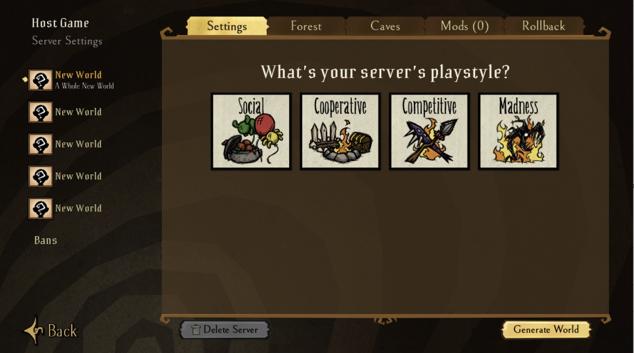 A view of the world creation UI for hosting a new world in Don't Starve Together