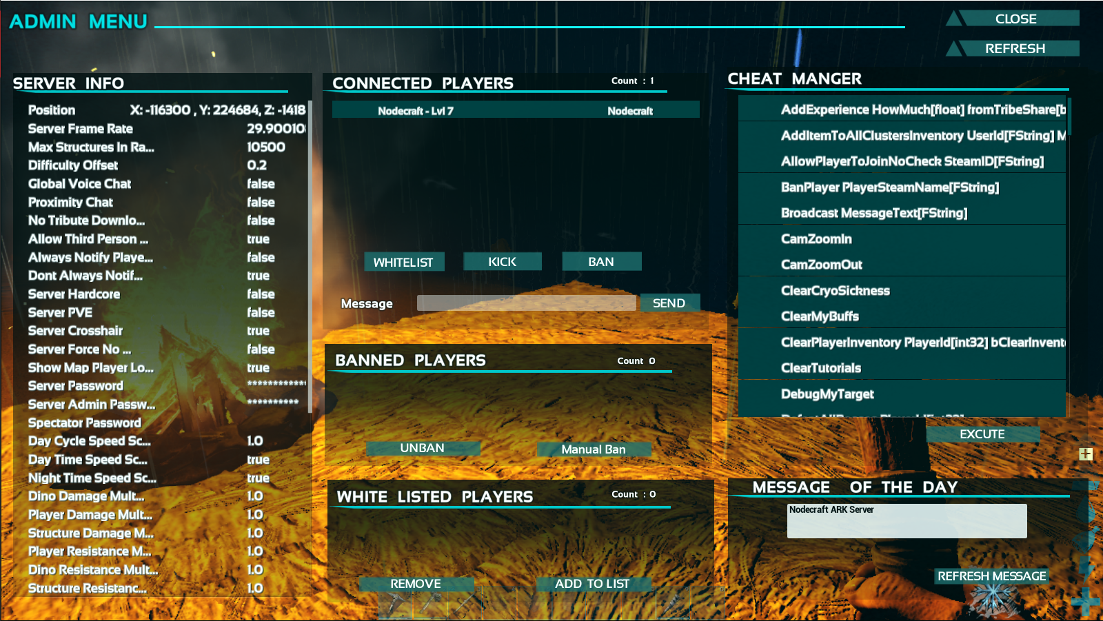 A view of the showmyadminmanager GUI for ARK