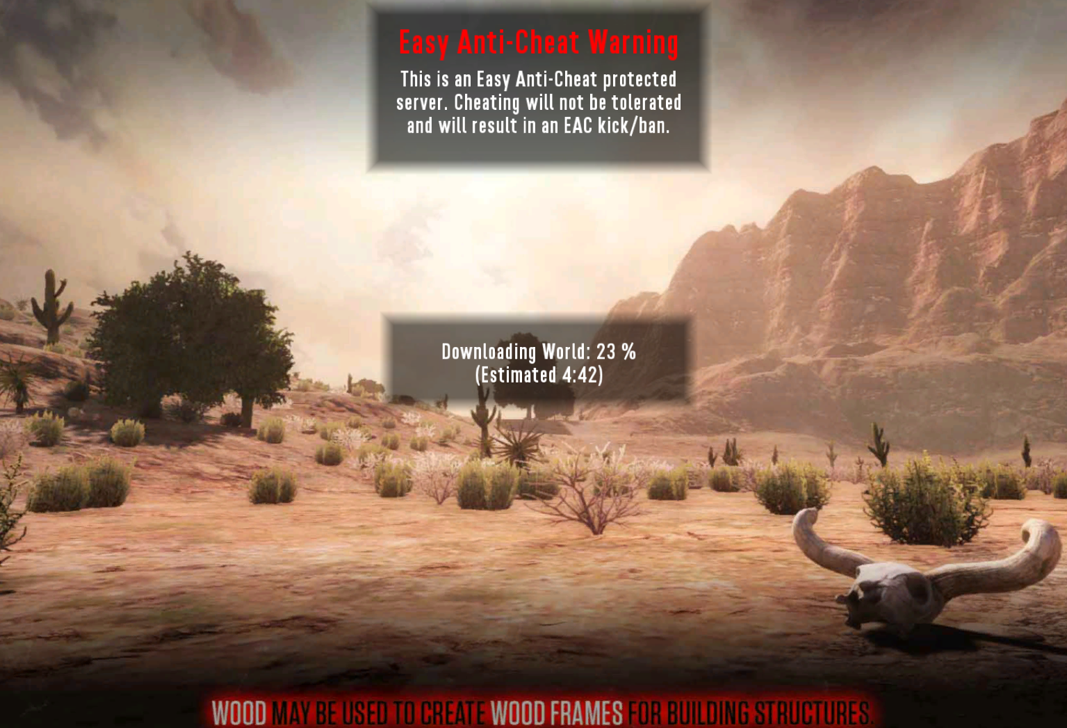 A view of a loading screen when joining a 7 Days to Die server, showing the map being downloaded.