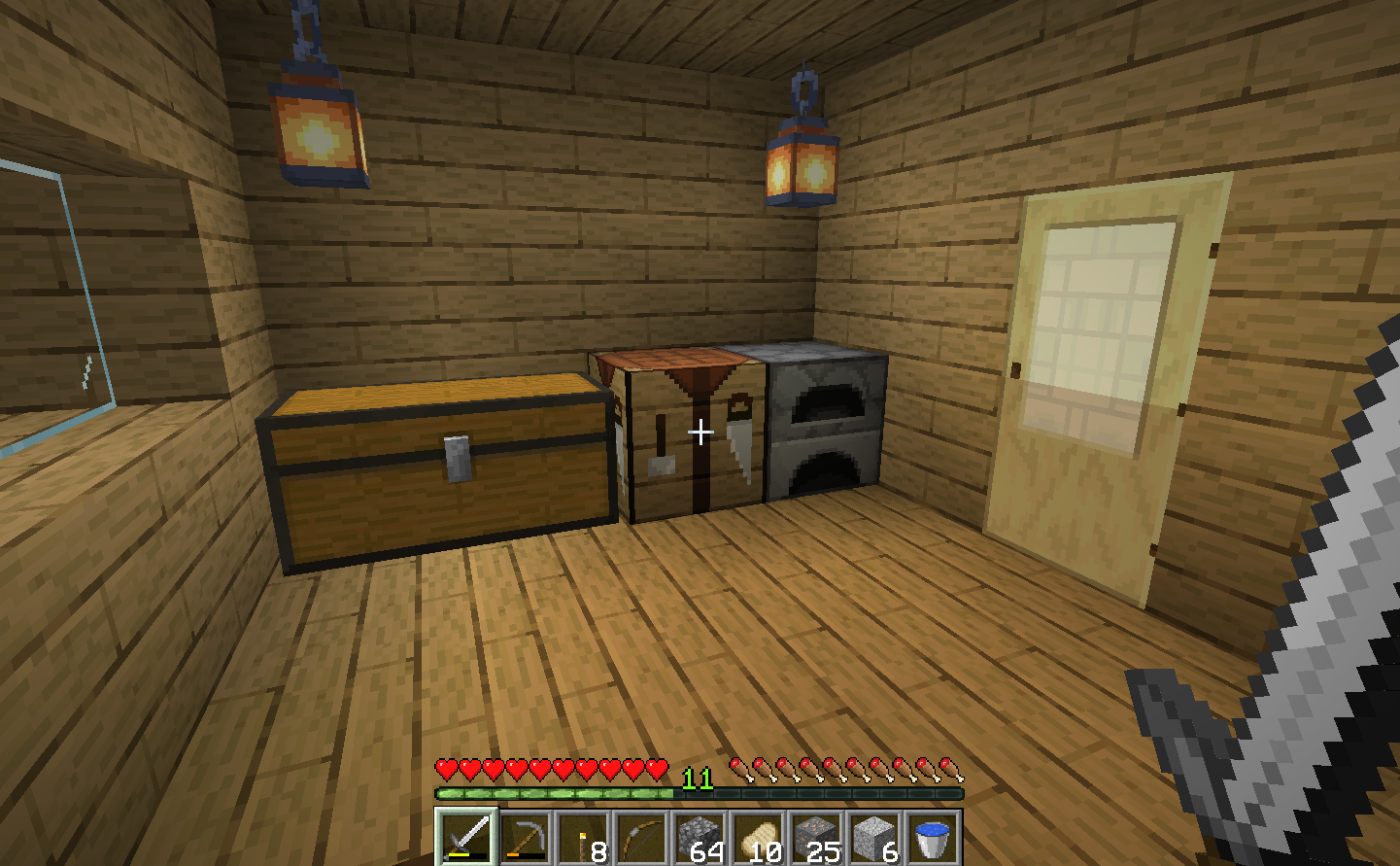 A view of the inside of a minecraft house, with the faithful 32 Resource Pack loaded