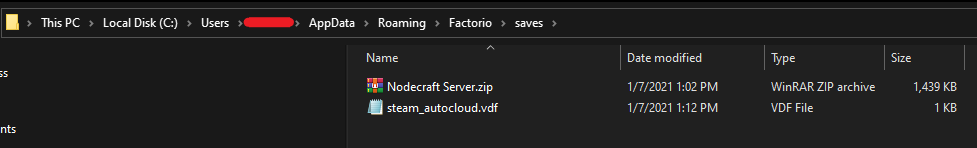 Factorio world save location on a Windows PC