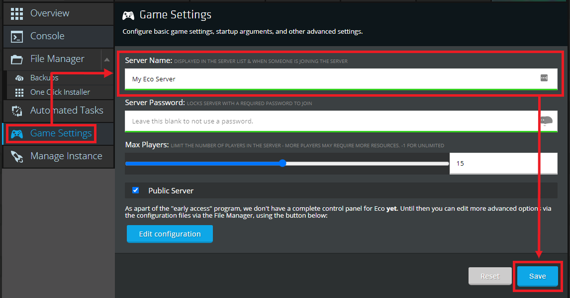 A view of the Nodecraft control panel for the game settings section of Eco, showing the server name being set