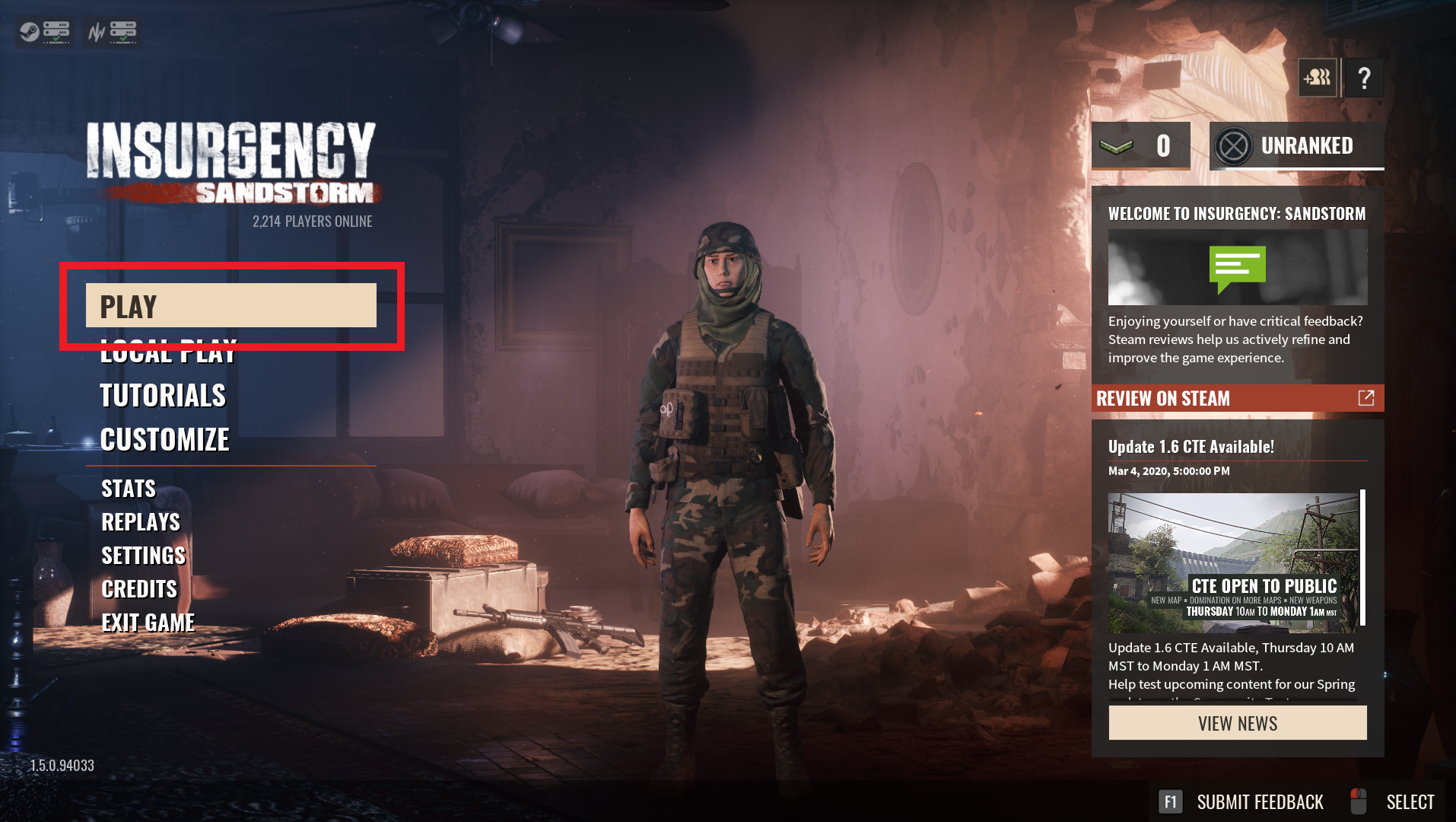 A view of the title screen of Insurgency Sandstorm