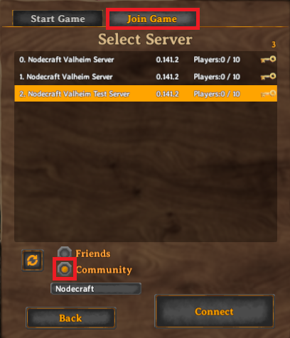 Valheim's server listings search function to find our Nodecraft server