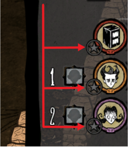 A view of the player list for Don't Starve Together, showing players set as admins.