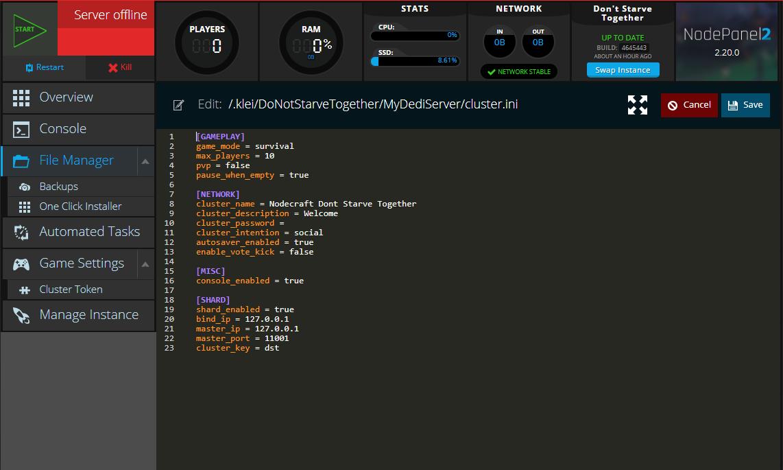 The cluster.ini config file for a Nodecraft Don't Starve Together server