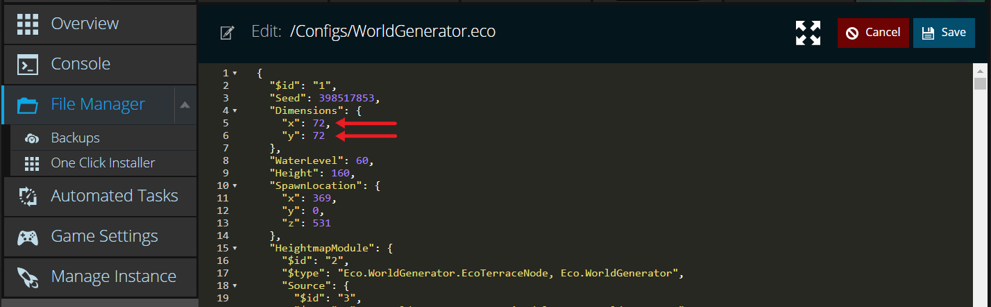 A view of the world generation config file for the game ECO, showing the size values for the world