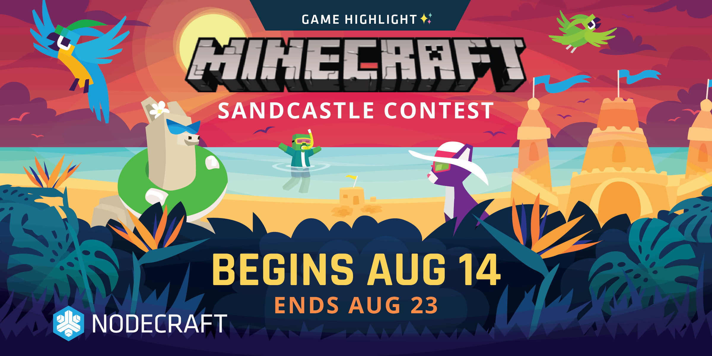Game Highlight: Minecraft Sandcastle Contest image. Begins Aug 14th, ends Aug 23rd