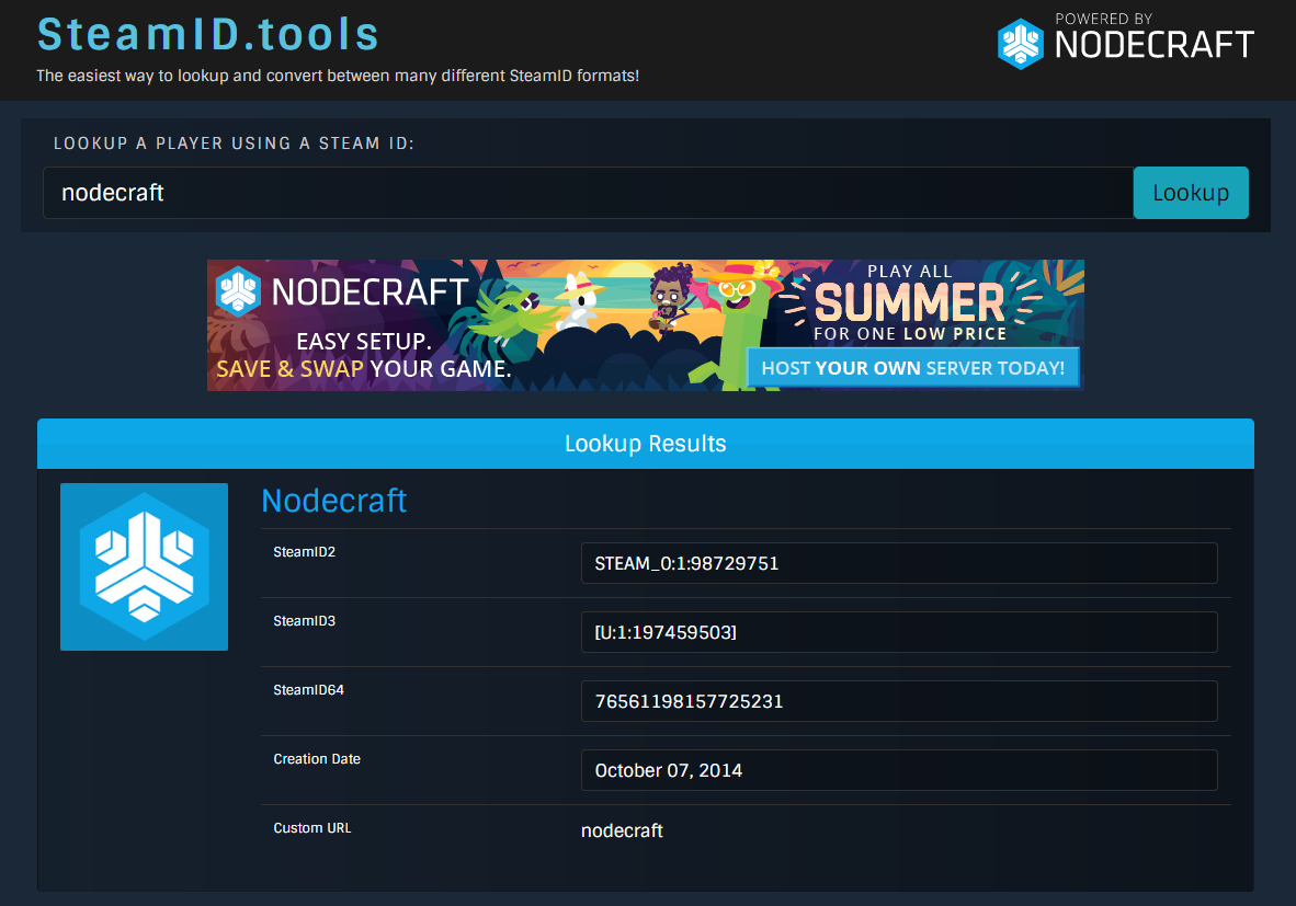 A view of the SteamID.net website for converting and looking up Steam IDs
