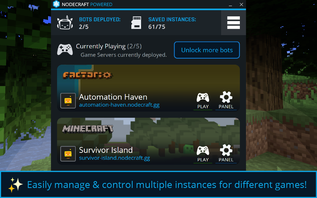 Easily manage & control multiple instances for different games!