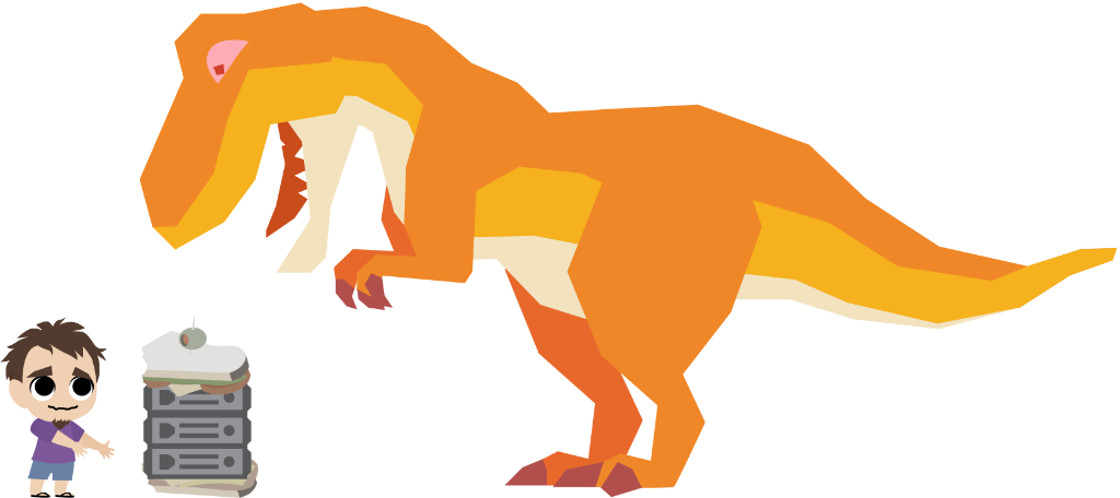 TRex eating a PixArk server with a sandvich on top