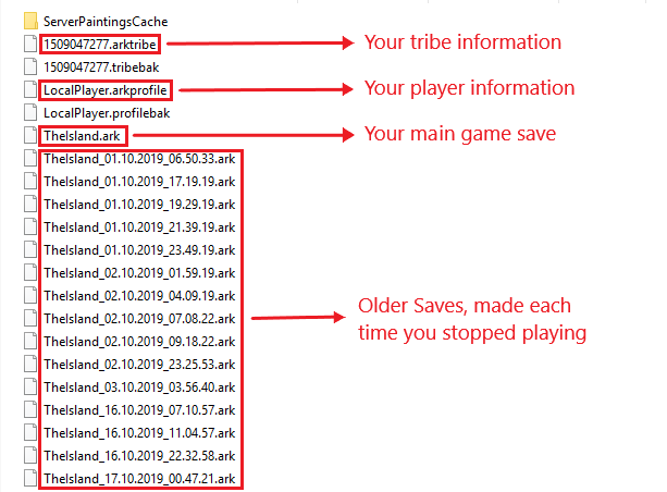 The save files of a single player ARK game