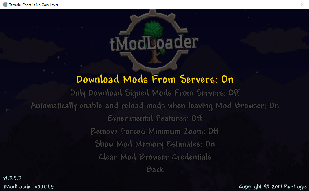 tModLoader's setting for downloading mods from a server