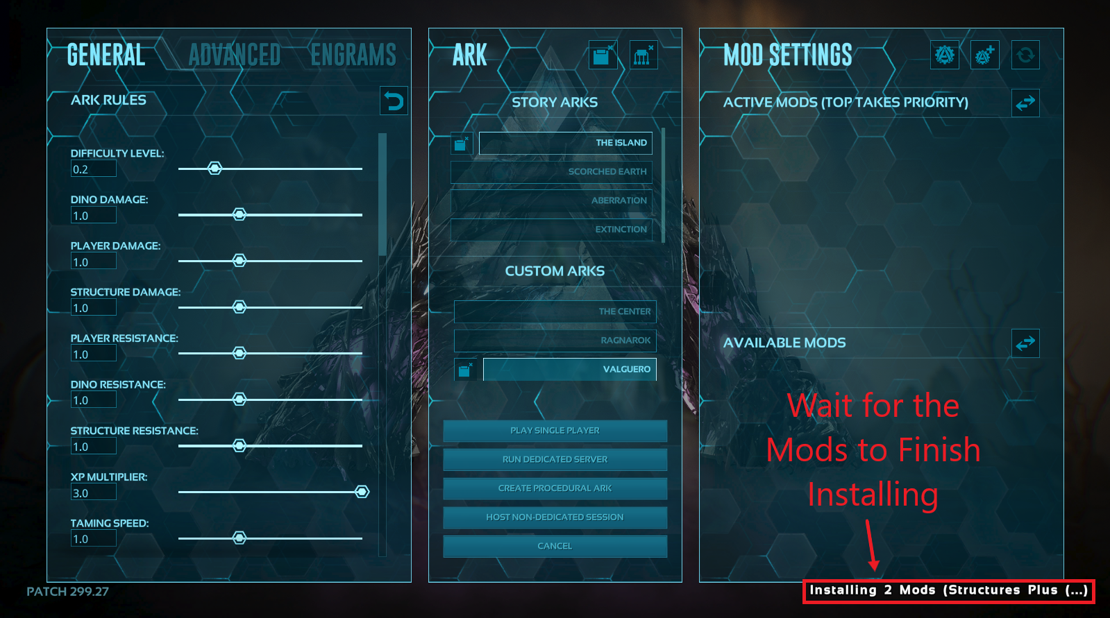 ARK Survival Evolved host local screen showing mods being installed.