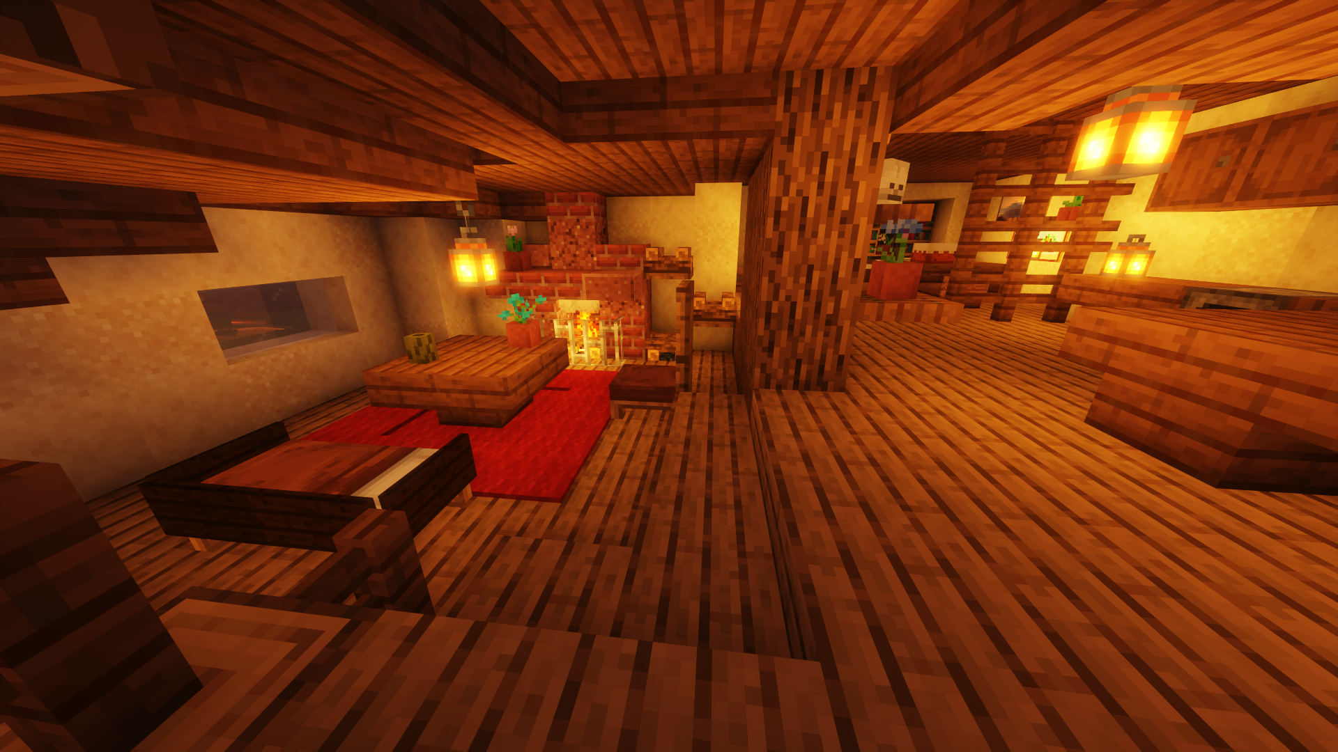 Minecraft screenshot with warm lighting, featuring a cozy living room with a conversation pit and fireplace.