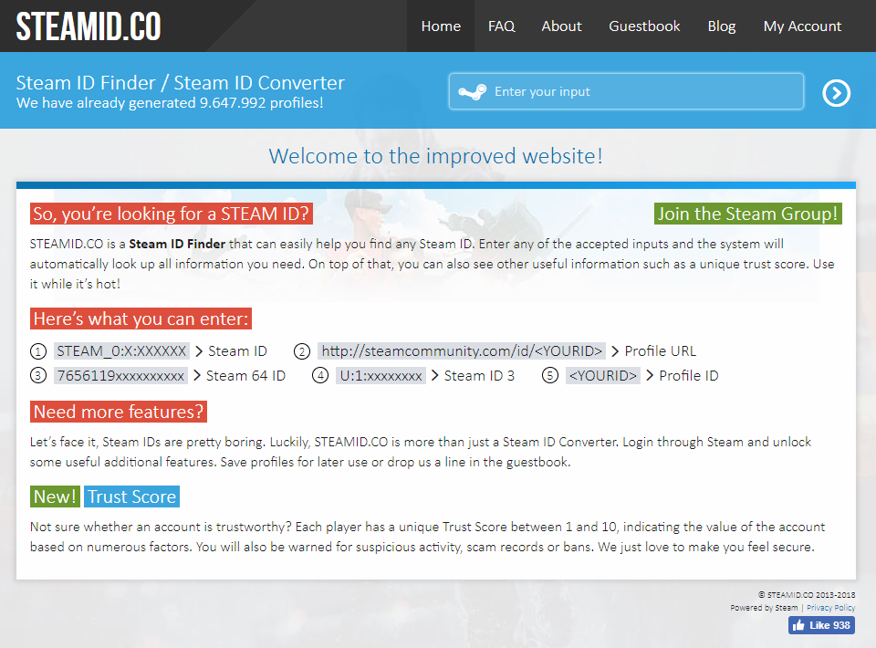 A view of the SteamID.co online resource tool