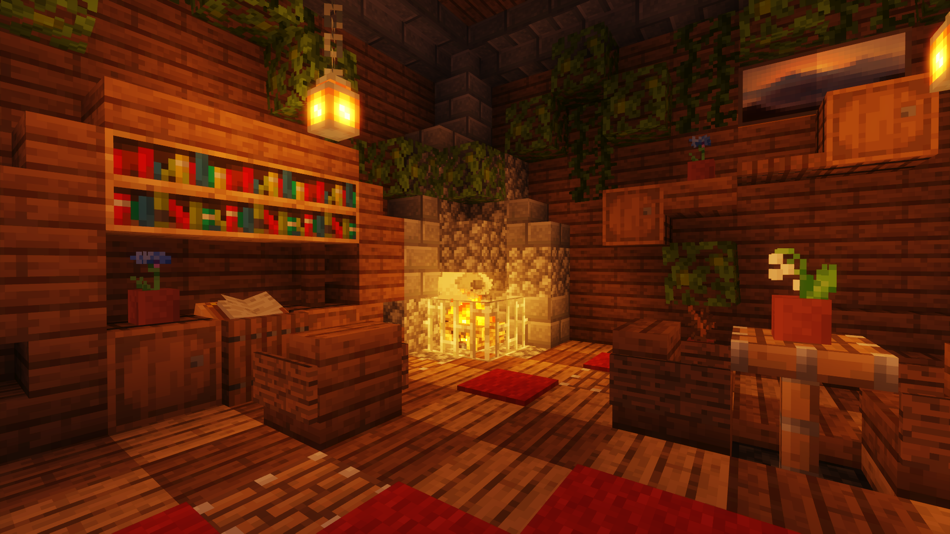 A cozy minecraft build featuring a book nook, fireplace, creative patterned flooring and lots of incorporated plants.