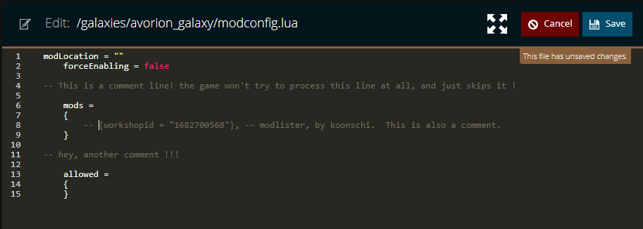 Commenting out a line in the modconfig.lua file of an avorion server