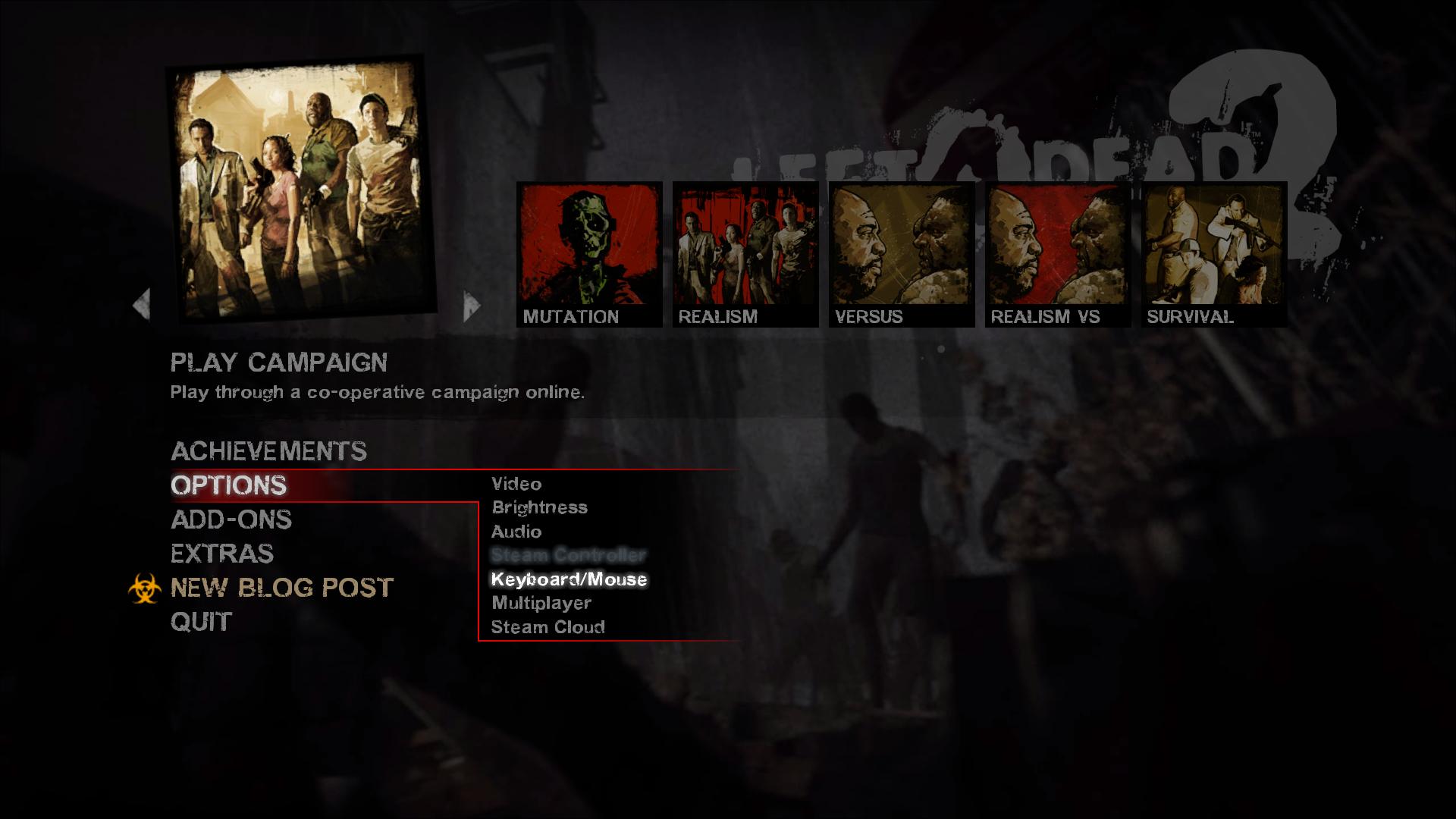 The Left 4 Dead 2's Options menu