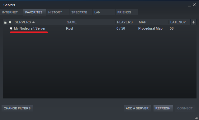 Our Rust server correctly added to our Favorites in Steam