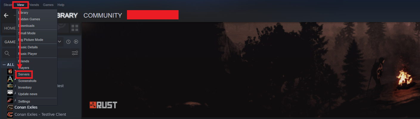 """A view of the Steam game client, showing the """"View"""" dropdown menu, with """"Servers"""" highlighted."""