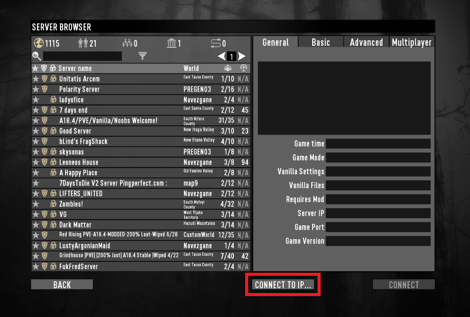 """A view of the server listings for the game 7 Days to Die, with """"connect to IP"""" highlighted."""