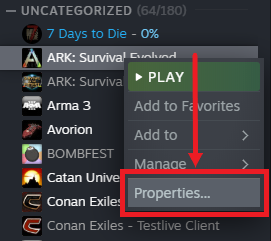 A view of the control panel UI for steam, showing how to view the properties for Ark