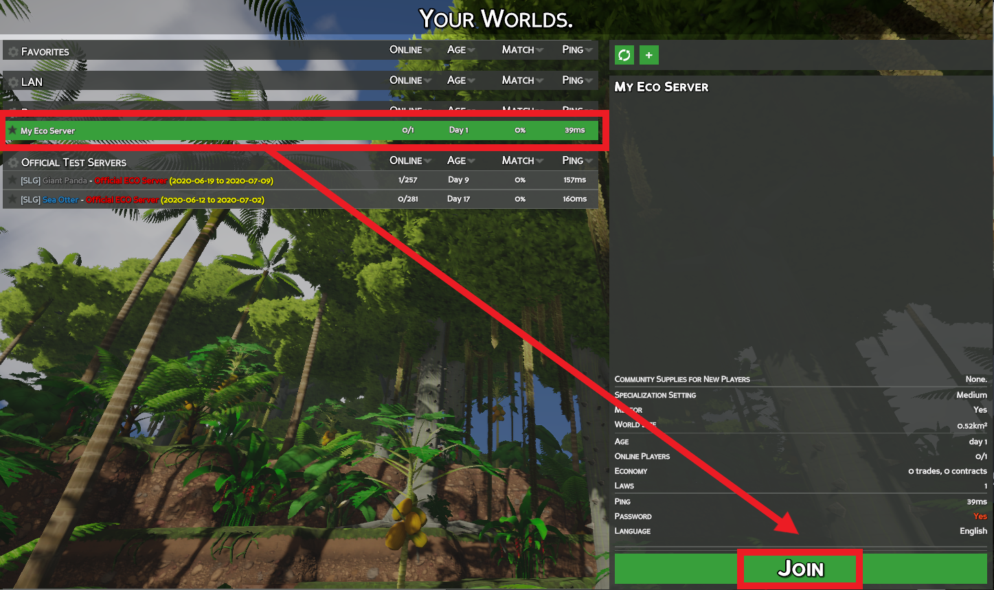 A view of the Your Worlds server listings, showing a recently played on server that can be quickly rejoined.
